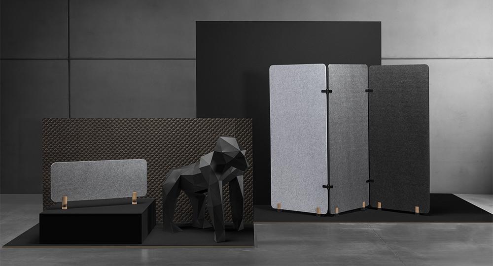 PET fibers accoustic dividers, panels eco-friendly minimalist design